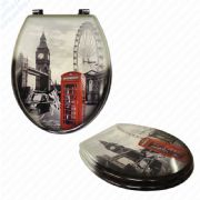 MDF London Print Novelty Toilet Seat with Chrome Metal Bottom Fixing Hinges